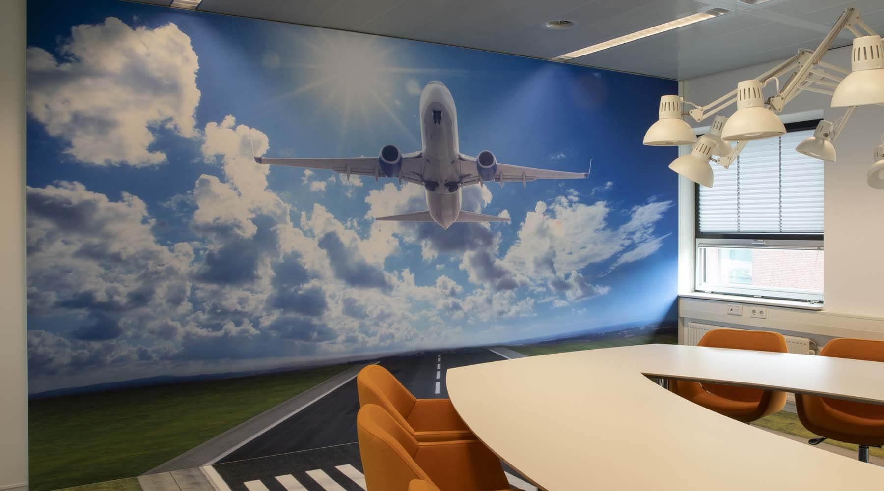 kantoorinrichting bedrukt wandvisuals interieur airtex
