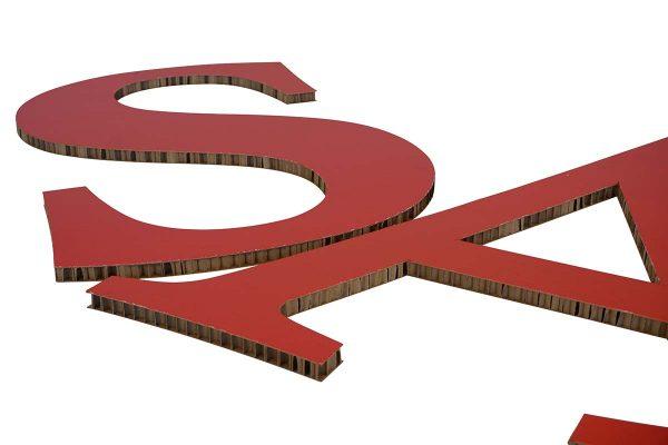 grote etalage letters karton honingraat reboard